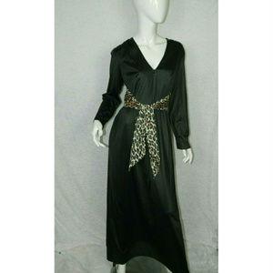 Vanity Fair Black Vintage 70's Lounge Robes Sz 16